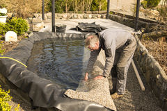 修造庭院池塘 库存照片