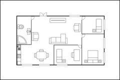 修造或与家具的平的计划,隔绝在白色backgrou 免版税库存照片