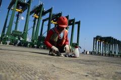 修造新的丹戎Priok港口 库存照片