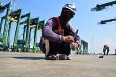 修造新的丹戎Priok港口 免版税库存图片