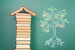 修造的书和知识树 免版税库存图片