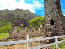 修造的废墟在夏威夷 免版税库存图片