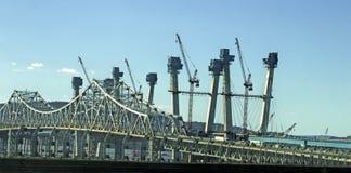 修造的新的Tappan Zee桥梁 免版税库存图片