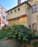 修造的老户外古董建筑学城市黄色家庭绿色树自然夏天晒黑阳光蓝天窗口 免版税库存照片