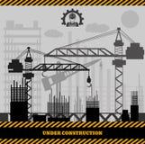 修造的建设中站点,建筑infographics Vecto 免版税库存图片