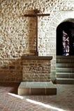 修道院停止的michel mont圣徒石头 免版税图库摄影