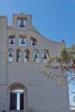 修道院先知伊莱亚斯,圣托里尼海岛,锡拉,希腊入口  免版税库存图片