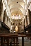 修道院内部在Alcobaca,葡萄牙 免版税库存照片