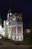 修道院响铃塔的看法在Spaso-evfiem修道院里 做在晚上 秋天 库存照片