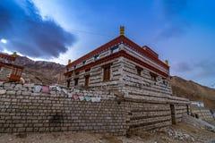 修道院在Nako村庄, Kinnaur谷,喜马偕尔邦 库存照片