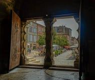 修道院大门在穆瓦萨克 免版税库存照片