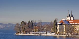 修道院泰根塞在冬天在巴伐利亚 免版税库存照片
