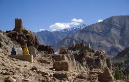 修道院, Basgo,拉达克,印度 库存照片