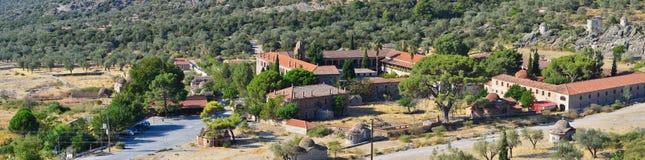 修道院Limonos,全景,海岛莱斯博斯岛 库存照片