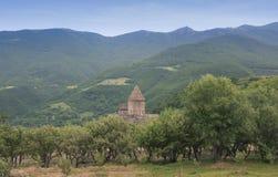 修道院Tatev 圆顶被看见从树的后面 山景 的臂章 免版税库存照片