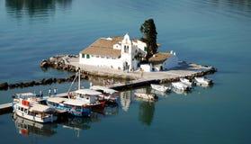 修道院Vlahelna, Kerkyra,科孚岛海岛,希腊。 免版税库存图片