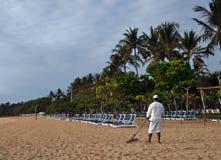 修饰印度尼西亚的巴厘岛海滩 库存图片