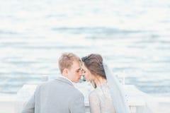 修饰希望亲吻新娘在海滨 免版税库存图片