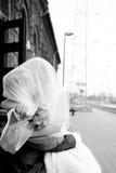 修饰新娘亲吻 免版税库存照片