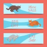 修饰的猫显示销售横幅或兽医似猫的飞行物传染媒介例证 逗人喜爱的小猫宠物海报 滑稽的动物 向量例证