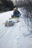 修饰越野滑雪或滑雪的足迹 免版税库存照片
