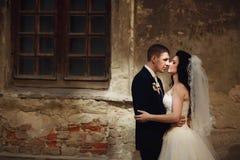 修饰huging亲吻美丽的新娘在墙壁户外利沃夫州附近 免版税库存图片