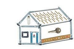 修建一个小屋的计划 螺丝的样房 修建房子的抵押 计划建筑师 查出在白色 库存图片