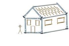 修建一个小屋的计划 螺丝的样房 修建房子的抵押 计划建筑师 查出在白色 免版税图库摄影