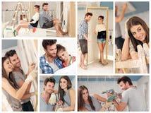 修建新房的年轻夫妇 库存图片