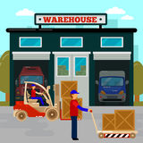 修建概念行业采购管理系统存储仓的配件箱 货物产业 铲车的工作者 库存照片