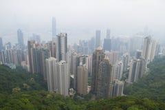 修建高峰香港的顶视图城市 库存照片