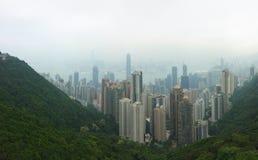 修建高峰香港的顶视图城市 免版税图库摄影