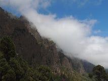 俯视一座树木繁茂的山 图库摄影