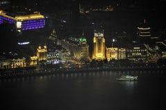 俯视上海黄浦江障壁和陆家嘴 库存照片
