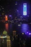 俯视上海黄浦江障壁和陆家嘴 免版税图库摄影