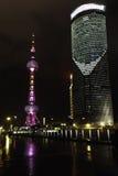 俯视上海黄浦江障壁和陆家嘴 免版税库存照片