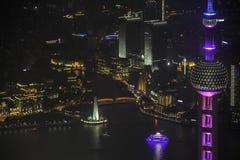 俯视上海黄浦江障壁和陆家嘴 库存图片