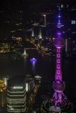 俯视上海黄浦江障壁和陆家嘴 免版税库存图片