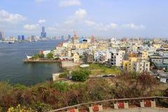 俯视从qijin海岛,多孔黏土rgb的高雄口岸 库存图片