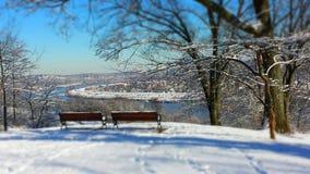 俯视冬天 库存照片