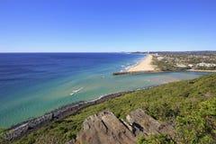 从俯视南英属黄金海岸,澳大利亚的Tumgun监视的看法 图库摄影