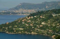 俯视在Meditarrenean海的摩纳哥 免版税库存照片
