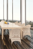 俯视城市的现代餐厅内部 库存图片