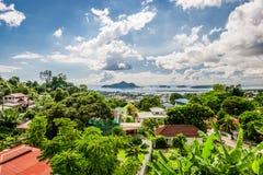 俯视塞舌尔群岛首都维多利亚 图库摄影