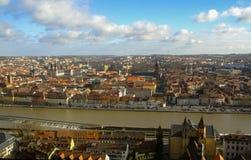 俯视市维尔茨堡,德国的双筒望远镜 免版税库存照片