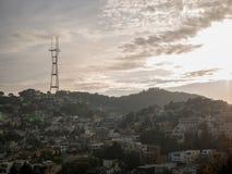 俯视旧金山的Sutro塔 免版税库存照片