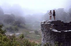 俯视明亮的有雾的谷的妇女 免版税图库摄影