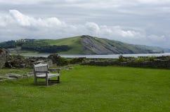 俯视沿海海湾的公园长椅 库存图片