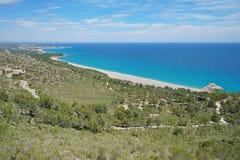 俯视海岸科斯塔Dorada的西班牙观点 免版税库存图片