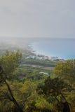 俯视海滩 库存照片
